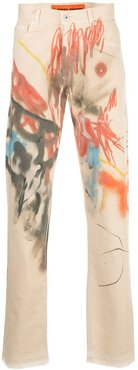 slim-fit abstract print jeans - Neutrals