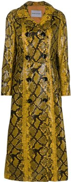 snake print double-breasted coat - Yellow