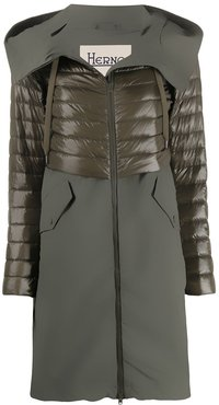 quilted hooded mid-length coat - Green