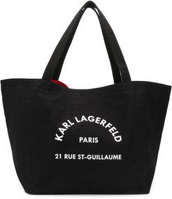 logo-print tote bag - Black