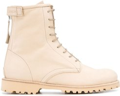 lace-up leather boots - NEUTRALS