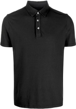 shortsleeved buttoned polo shirt - Black