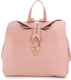 logo plaque grained backpack - PINK