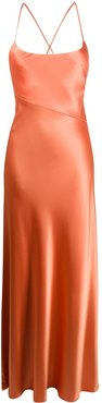 Serena satin maxi dress - ORANGE