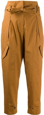 tie waist tapered trousers - Brown