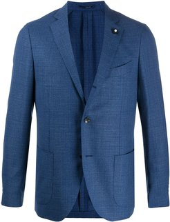 single-breasted pin detail blazer - Blue