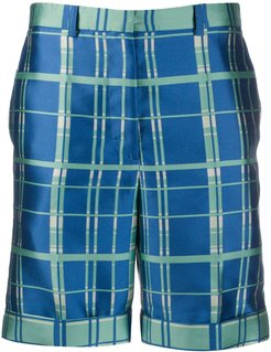 tailored check print shorts - Blue