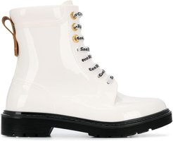 patent leather cargo boots - White