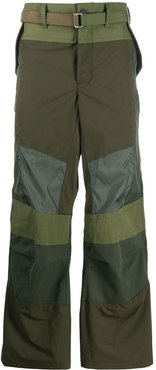 fabric-combo wide trousers - Green