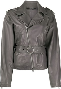 belted leather jacket - Grey