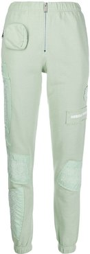 embroidered patches slim trousers - Green
