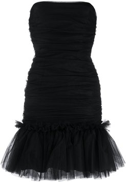 ruffled-hem tulle dress - Black