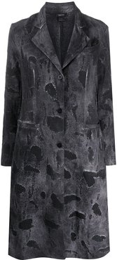 distressed single-breasted coat - Grey