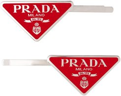 triangle logo hair clips - Red