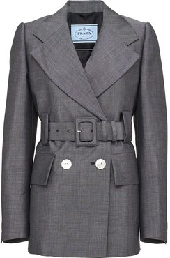 double-breasted belted blazer - Grey