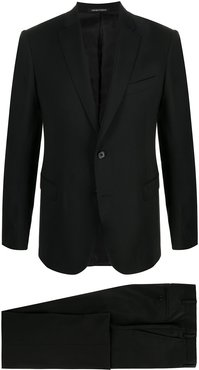 single-breasted wool suit jacket - Black