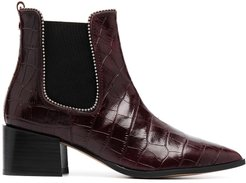 Spire crocodile embossed ankle boots - Red