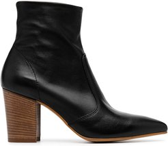 Sculpture pointed heeled boots - Black