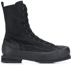 tall lace up boots - Black