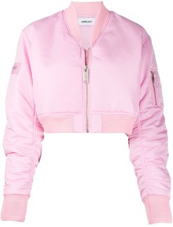 cropped bomber jacket - PINK