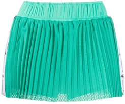 pleated perforated shorts - Green