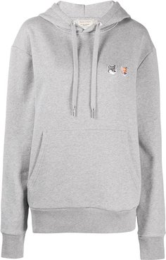double fox head patch hoodie - Grey