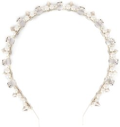 faux-pearl and crystal headband - Neutrals