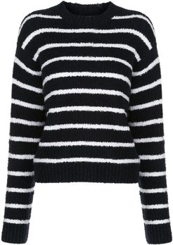 striped bouclé relaxed-fit jumper - Blue