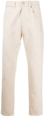 floral-embroidered slim-fit jeans - Neutrals