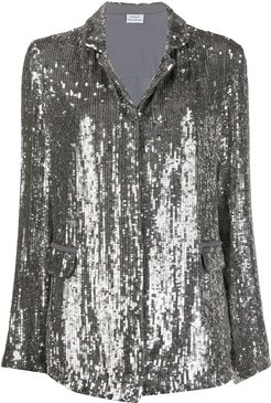 sequinned open-front blazer - SILVER