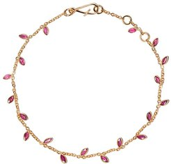 18kt yellow gold Vine Leaf ruby bracelet - 18ct Yellow Gold