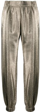 metallic-effect tapered trousers - GOLD