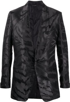 abstract-jacquard satin tuxedo jacket - Black