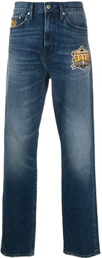 embroidered straight-leg jeans - Blue