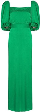 Thread Of Thought puff-sleeve dress - Green