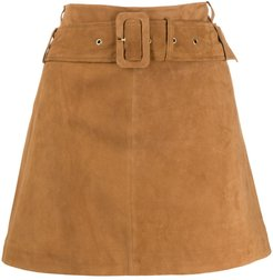 belted mini skirt - Brown