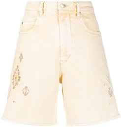 embroidered denim shorts - Yellow