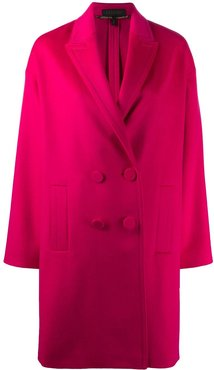 double-breasted midi coat - PINK
