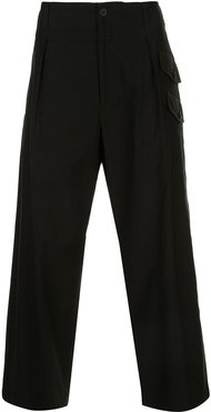 side pockets loose trousers - Black