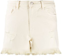 high-waisted denim shorts - NEUTRALS