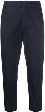 cropped fitted trousers - Blue