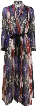 abstract print belted coat - Blue