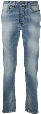 distressed mid-rise slim-fit jeans - Blue