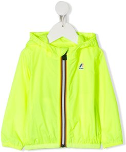 contrast zip up rain jacket - Yellow