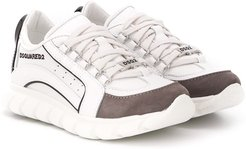 suede panel sneakers - White