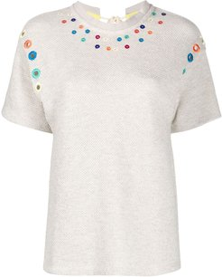 embroidered tie-back T-shirt - Neutrals