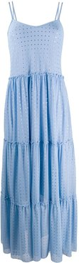 sequinned tiered maxi dress - Blue