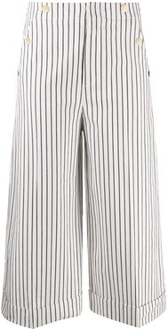 cropped striped pattern trousers - White