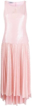 sequinned pleated dress - PINK