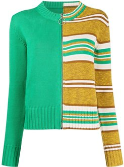 knitted striped cardigan - Green